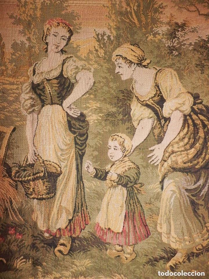 Antigüedades: T5 Gran tapiz de Jaquard Gobelino principios s XX escena bucólica 140x95 cm - Foto 2 - 140572786