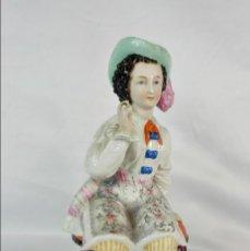 Antigüedades: CONTA & BOEHME, CAJA PARA TABACO EN PORCELANA. FAIRING TOBACCO BOX. DAMA FUMANDO. 1880. Lote 140578994