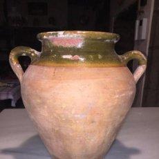 Antigüedades: ANTIGUA TINAJA / ORZA CATALÁNA VIDRIADA EN COLOR VERDE DEL SIGLO XIX. Lote 140581190