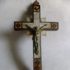 Antigüedades: CRUZ DE JERUSALEM CRISTO BRONCE, TARACE Y NACAR. ESTACONES VIA CRUCIS.. Lote 140588350