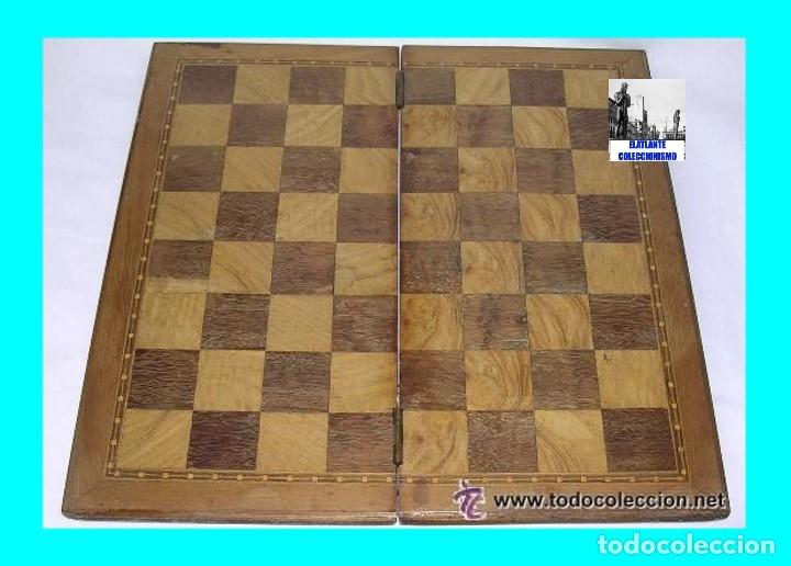 Antigüedades: TABLERO DE VIAJE PARA AJEDREZ O DAMAS - MADERAS NOBLES - MUY ANTIGUO - PRINCIPIOS SIGLO XX - Foto 4 - 173994467