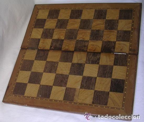 Antigüedades: TABLERO DE VIAJE PARA AJEDREZ O DAMAS - MADERAS NOBLES - MUY ANTIGUO - PRINCIPIOS SIGLO XX - Foto 5 - 173994467