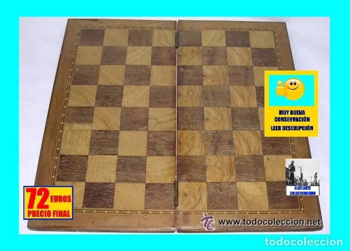 Antigüedades: TABLERO DE VIAJE PARA AJEDREZ O DAMAS - MADERAS NOBLES - MUY ANTIGUO - PRINCIPIOS SIGLO XX - Foto 2 - 173994467
