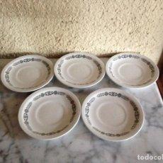 Antigüedades: 5 PLATOS DE CAFÉ - PUBLICIDAD DE CAFE MONKY - PORCELANA PONTESA . Lote 140650738