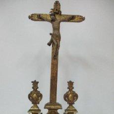 Antigüedades: IMPORTANTE JESUCRISTO BARROCO - CRISTO MADERA TALLADA - CRUZ DORADA - ÁNGEL, QUERUBÍN - S. XVII. Lote 140666614