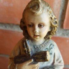 Antigüedades: IMAGEN NIÑO JESÚS CON LA CRUZ OJOS DE CRISTAL.. Lote 140690284