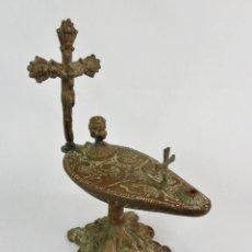 Antigüedades: CANDIL LÁMPARA DE IGLESIA S XIX EN BRONCE. Lote 140714170