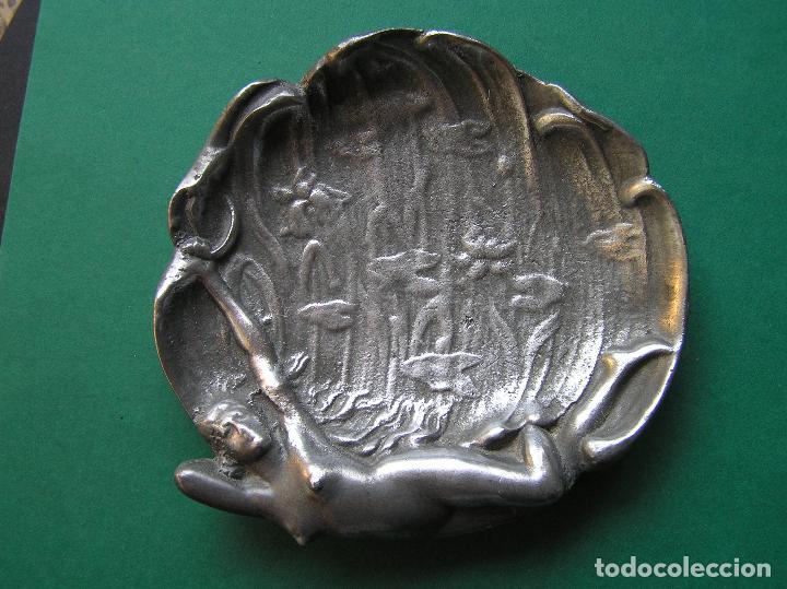 Antiquitäten: Espectacular despojador de bronce modernista.Puro estilo ART-NOUVEAU.Erótico. 1900. Peltre. - Foto 2 - 140771690