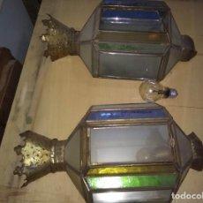 Antigüedades: ANTIGUOS FAROLES EN LATA PLOMADA.. Lote 140771922