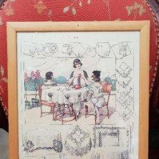 Antigüedades: TALLER DE COSTURA. LITOGRAFÍA ENMARCADA EN MARCO DE PINO.. Lote 140792866