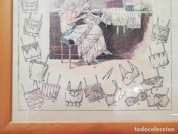 Antigüedades: Taller de costura. Litografía enmarcada en marco de pino. - Foto 2 - 140793550