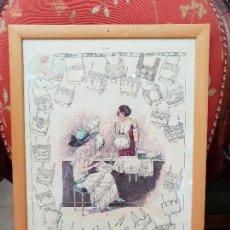 Antigüedades: TALLER DE COSTURA. LITOGRAFÍA ENMARCADA EN MARCO DE PINO.. Lote 140793550