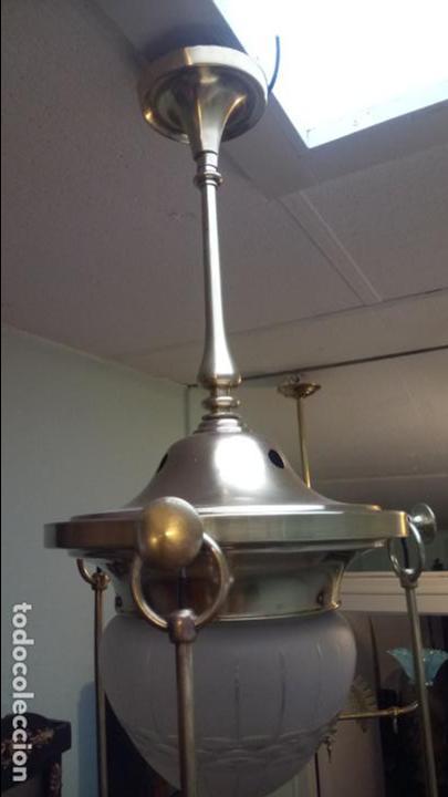 Antigüedades: Antigua lámpara Modernista de latón y tulipas de cristal tallado a mano de los años 20-30 - Foto 9 - 140809566