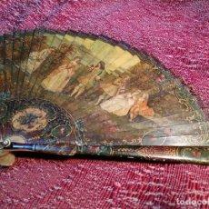 Antigüedades: ABANICO ESCUELA FRANCESA 1900 HUESO-CAREY-PEDRERIA-PINTURA EN MINIATURA DE LUCIE BOILLAT--REF- D. Lote 140839954