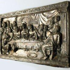 Antigüedades: PLACA CUADRO DE LA ÚLTIMA CENA EN COBRE CON RELIEVE CON BAÑO DE PLATA REPUJADO MY ANTIGUO SIGLO XIX. Lote 140847486
