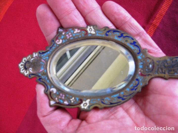 Antigüedades: ESPEJO BISELADO DE MANO EN BRONCE CLOISONNE PERFECTO CIRCA 1890 - Foto 5 - 140862538