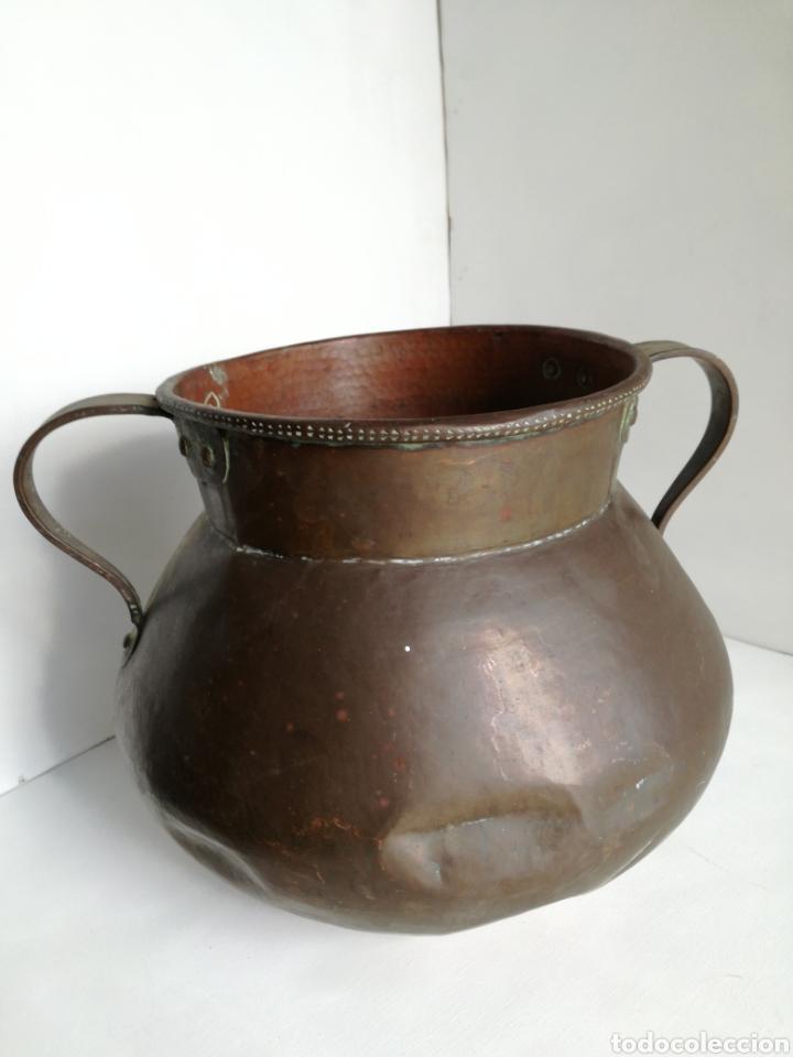 Antigüedades: ANTIGUO CALDERO DE COBRE REMACHADO 23CM - Foto 7 - 140872710