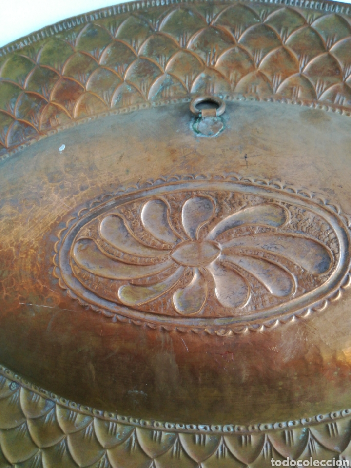 Antigüedades: ANTIGUA BANDEJA DE COBRE REPUJADO 46X30cm // METAL CINCELADO - Foto 12 - 140876414