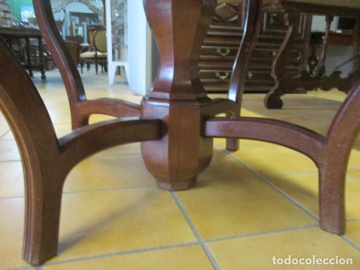 Antigüedades: Curiosa Mesa de Comedor - Madera de Caoba - Extensible - Pata Central - 124 cm Diámetro - S. XIX - Foto 3 - 140887310