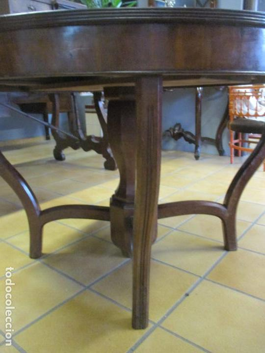 Antigüedades: Curiosa Mesa de Comedor - Madera de Caoba - Extensible - Pata Central - 124 cm Diámetro - S. XIX - Foto 4 - 140887310