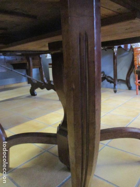 Antigüedades: Curiosa Mesa de Comedor - Madera de Caoba - Extensible - Pata Central - 124 cm Diámetro - S. XIX - Foto 5 - 140887310