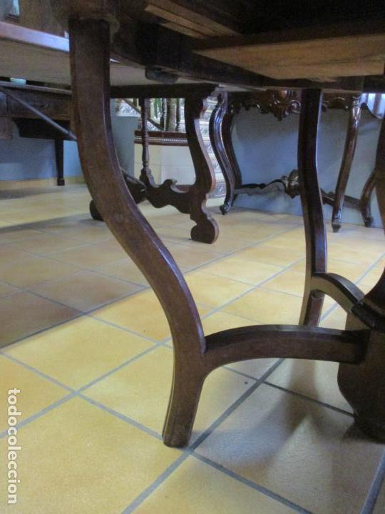 Antigüedades: Curiosa Mesa de Comedor - Madera de Caoba - Extensible - Pata Central - 124 cm Diámetro - S. XIX - Foto 6 - 140887310