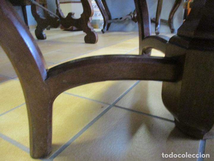 Antigüedades: Curiosa Mesa de Comedor - Madera de Caoba - Extensible - Pata Central - 124 cm Diámetro - S. XIX - Foto 7 - 140887310