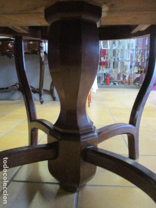 Antigüedades: Curiosa Mesa de Comedor - Madera de Caoba - Extensible - Pata Central - 124 cm Diámetro - S. XIX - Foto 8 - 140887310