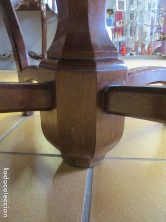 Antigüedades: Curiosa Mesa de Comedor - Madera de Caoba - Extensible - Pata Central - 124 cm Diámetro - S. XIX - Foto 9 - 140887310