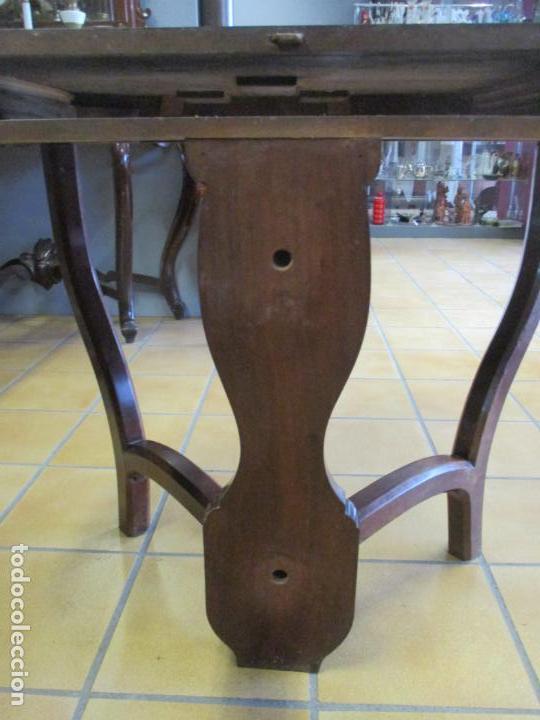 Antigüedades: Curiosa Mesa de Comedor - Madera de Caoba - Extensible - Pata Central - 124 cm Diámetro - S. XIX - Foto 18 - 140887310