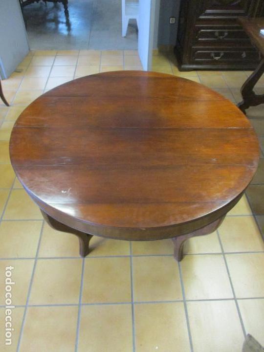 Antigüedades: Curiosa Mesa de Comedor - Madera de Caoba - Extensible - Pata Central - 124 cm Diámetro - S. XIX - Foto 27 - 140887310
