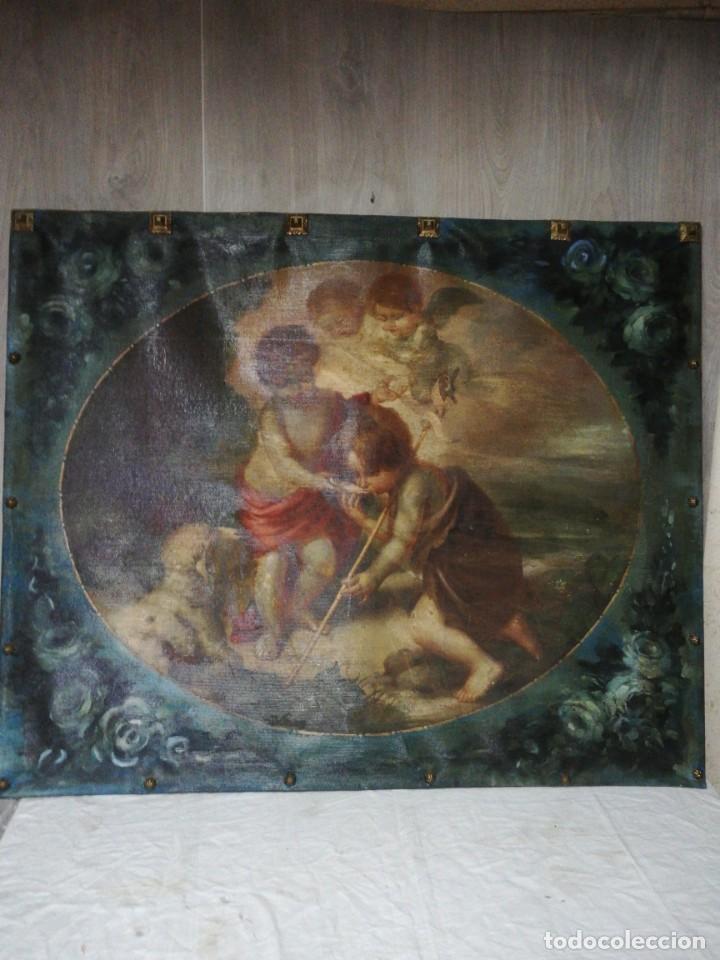 ANTIGUO TAPIZ RELIGIOSO PINTADO NI?OS DE LA CONCHA MURILLO (Antigüedades - Hogar y Decoración - Tapices Antiguos)