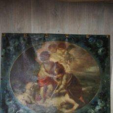 Antigüedades: ANTIGUO TAPIZ RELIGIOSO PINTADO NI?OS DE LA CONCHA MURILLO. Lote 140887686