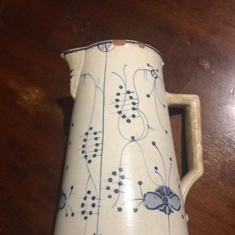 Preciosa jarra muy antigua reparada con sello 20 x 16 x 13,5