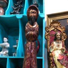 Antigüedades: TALLA MADERA RELIGIOSA ROMANICO FRAILE - MEDIDA 46 CM -. Lote 140935538