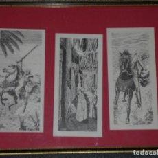Antigüedades: CUADRO CON 3 DIBUJOS ARABE.FIRMADO G.DESSAIX.MEDIDAS CUADRO 42X32 DIBUJO 10X20CM.. Lote 140946550