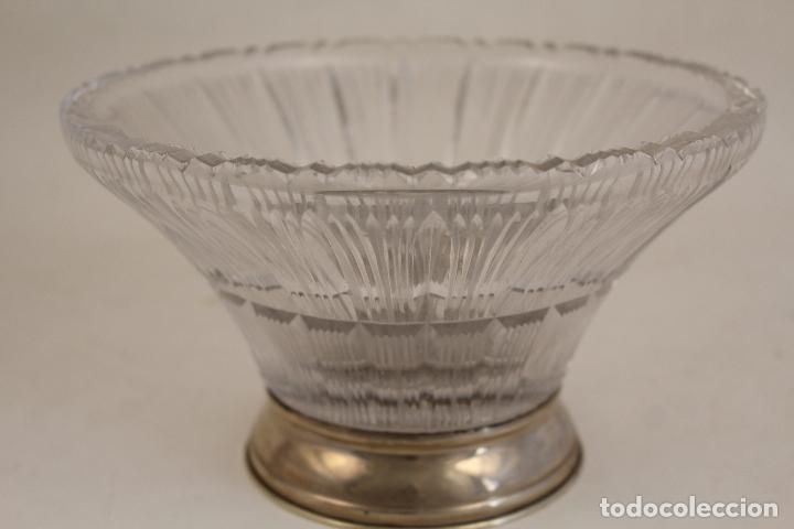 Antigüedades: frutero centro de mesa en cristal y plata de ley 925milesimas - Foto 4 - 140968870