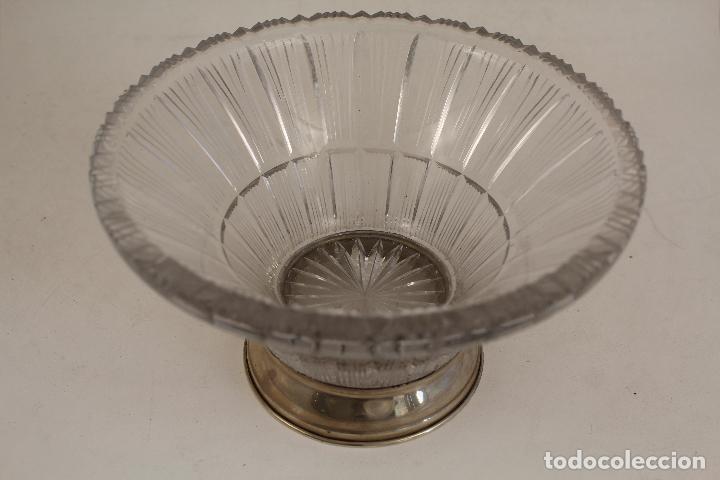 Antigüedades: frutero centro de mesa en cristal y plata de ley 925milesimas - Foto 5 - 140968870