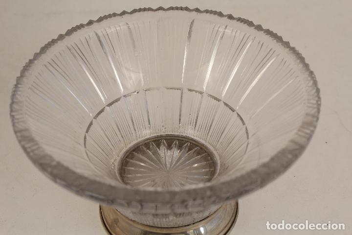 Antigüedades: frutero centro de mesa en cristal y plata de ley 925milesimas - Foto 6 - 140968870