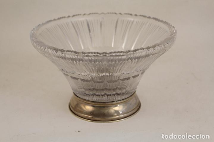 Antigüedades: frutero centro de mesa en cristal y plata de ley 925milesimas - Foto 8 - 140968870