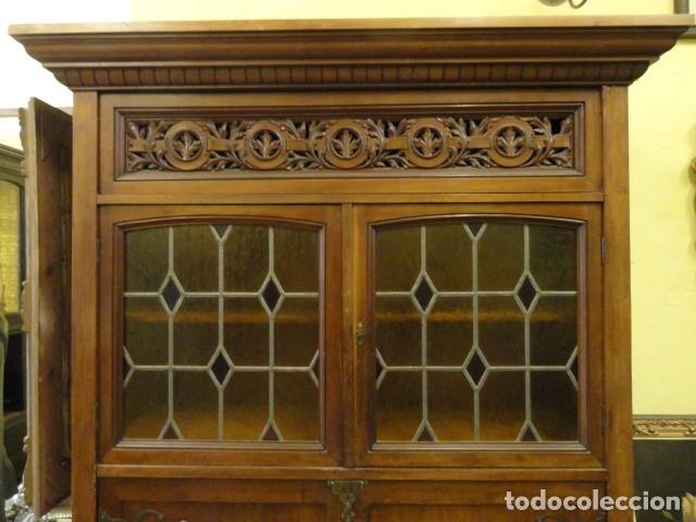 Antigüedades: MUEBLE MODERNISTA ESCRITORIO NOGAL - Foto 2 - 140986322