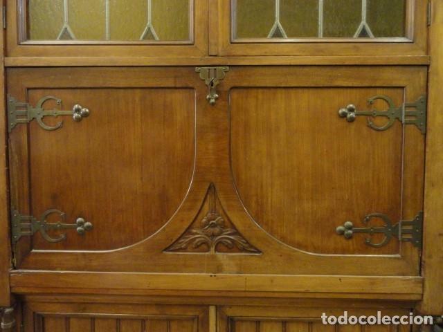 Antigüedades: MUEBLE MODERNISTA ESCRITORIO NOGAL - Foto 3 - 140986322