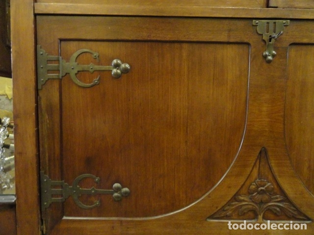 Antigüedades: MUEBLE MODERNISTA ESCRITORIO NOGAL - Foto 5 - 140986322