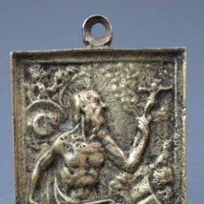 Antigüedades: PORTAPAZ EN BRONCE DORADO CINCELADO SAN JERONIMO FINALES SIGLO XVII PRINCIPIOS XVIII. Lote 141036410