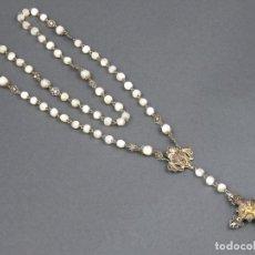 Antigüedades: ROSARIO DE CUENTAS EN NACAR MADREPERLA Y FILIGRANA DE PLATA SIGLO XIX. Lote 141052226