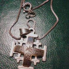 Antigüedades: CADENA CON CRUZ DE JERUSALEM - PLATA 952 4GR.. Lote 141206202