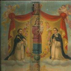 Antigüedades: FOTO RELIGIOSA CON MARCO CARTÓN ANTIGUA MEDIDAS 33 X 43 LAMINA MUY ANTIGUA CON ALEGORIAS. Lote 141219714