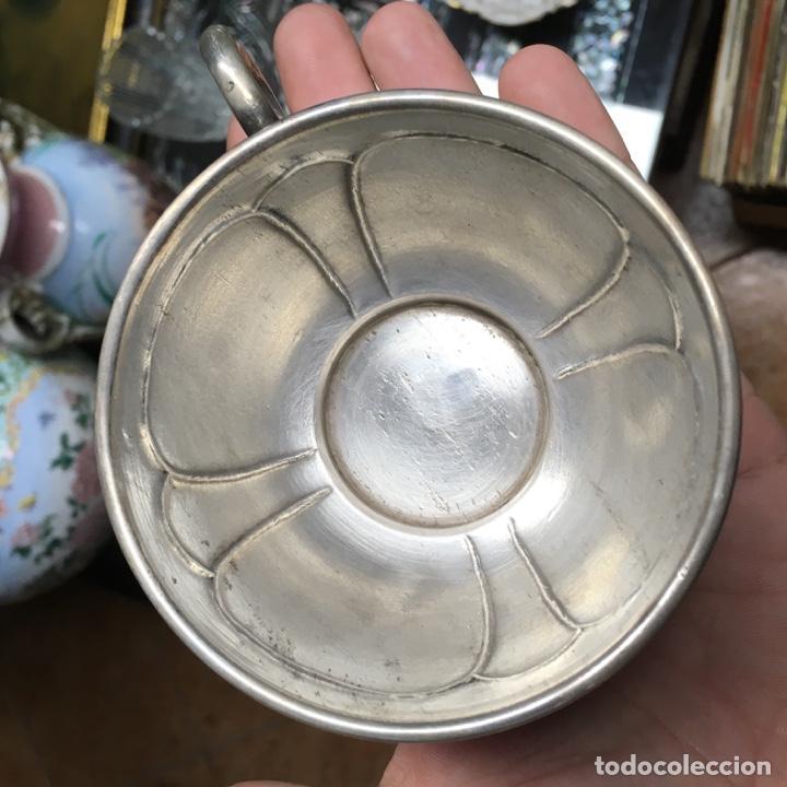 Antigüedades: Taza de plata de ley 925, pesa 134 gramos, tiene defectos - Foto 4 - 141245918