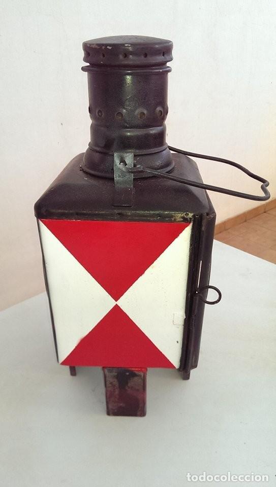 Antigüedades: Farol farol tren hierro tipo renfe, ferroviario, jefe de estacion, tren de cola,original s XIX - Foto 2 - 141270554