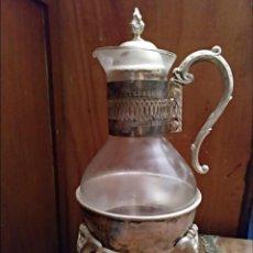 Antigüedades: CAFETERA CRISTAL DE BOHEMIA CON CALENTADOR DE VELA. Lote 139432834
